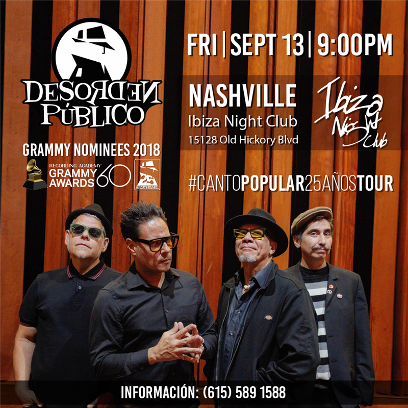 Get Information and buy tickets to Desorden Publico Nashville Reg Preventa $30 on www.click-event.com
