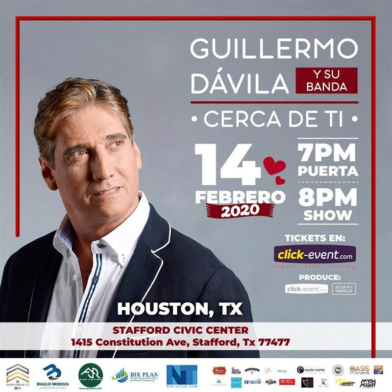 Get Information and buy tickets to Guillermo Davila y su banda - Cerca de ti - Houston TX Reg $35, Vip $50, Vip Oro $65, M&G $20 on www.click-event.com
