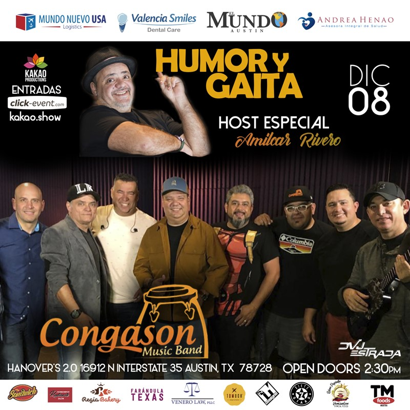 Get Information and buy tickets to Humor y Gaitas con Congason y Amilcar Rivero - Austin TX General $25 - Vip $35 on www.click-event.com