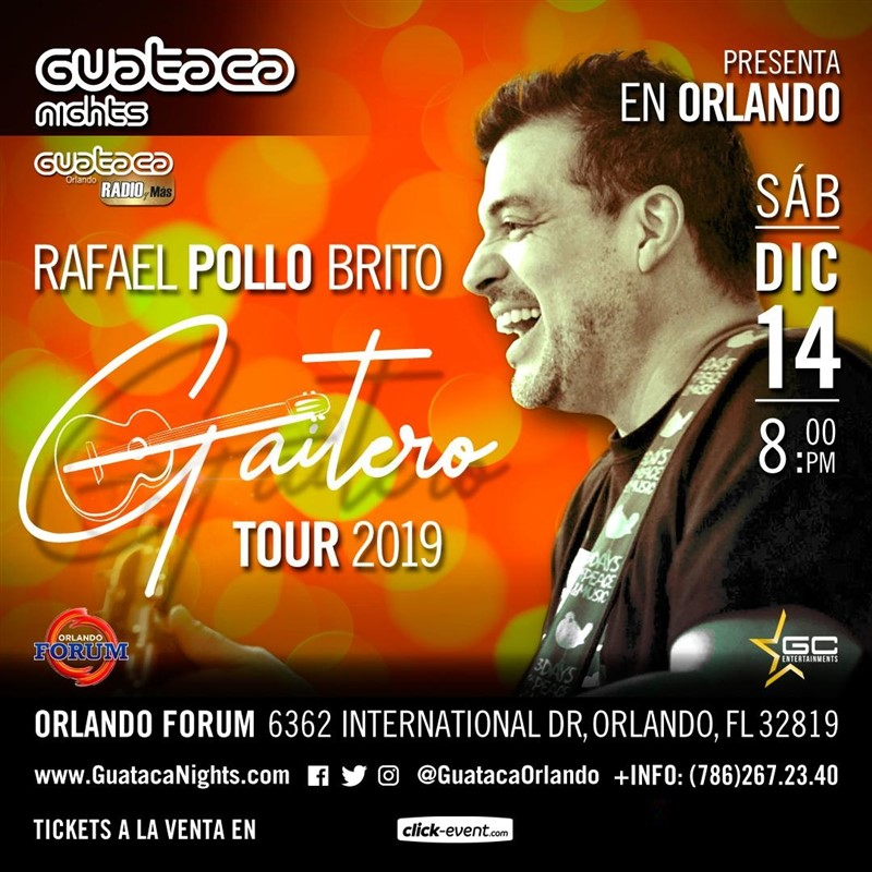 Get Information and buy tickets to Rafael Pollo Brito - Gaitero - Orlando FL General $40, Vip $60 on www.click-event.com