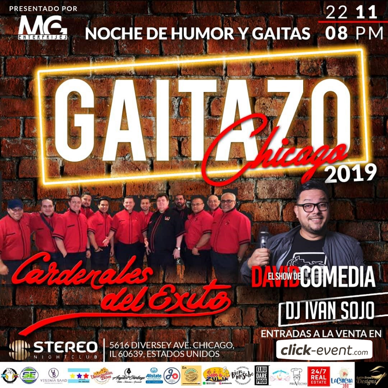 Get Information and buy tickets to Humor y Gaitas con Cardenales del Exito y David Comedia Chicago IL - Reg $50 - Vip $60 on www.click-event.com