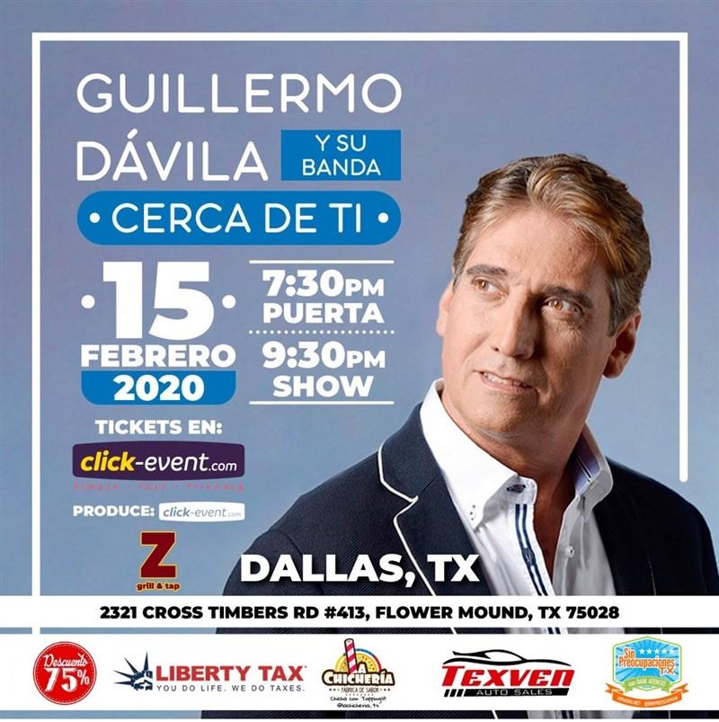 Get Information and buy tickets to Guillermo Davila y su banda - Cerca de ti - Dallas TX Preventa: Stand up $20 Reg $25 - $45 Vip $60, (M&G incluido) on www.click-event.com