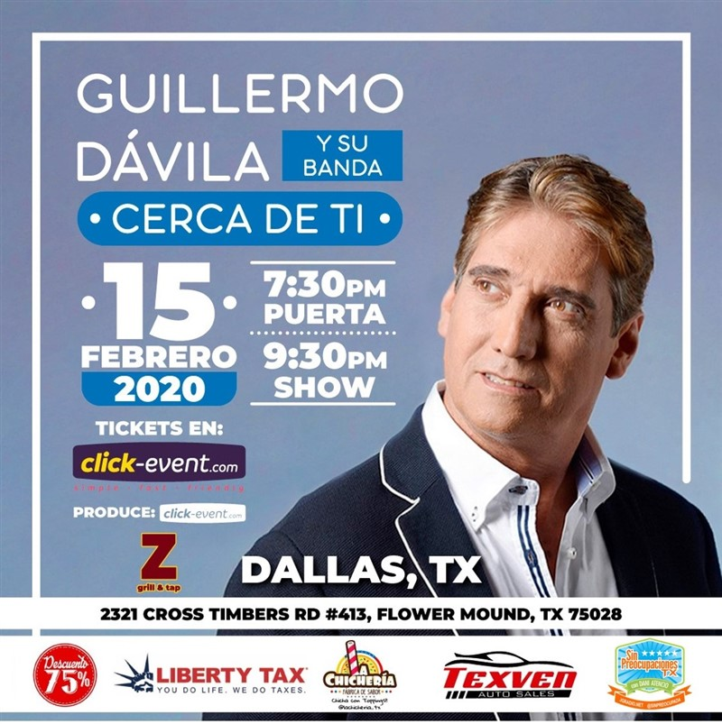 Get Information and buy tickets to Guillermo Davila y su banda - Cerca de ti - Dallas TX Preventa 2: Stand up $20 Reg $30 - $50 Vip $65 (M&G) on www.click-event.com