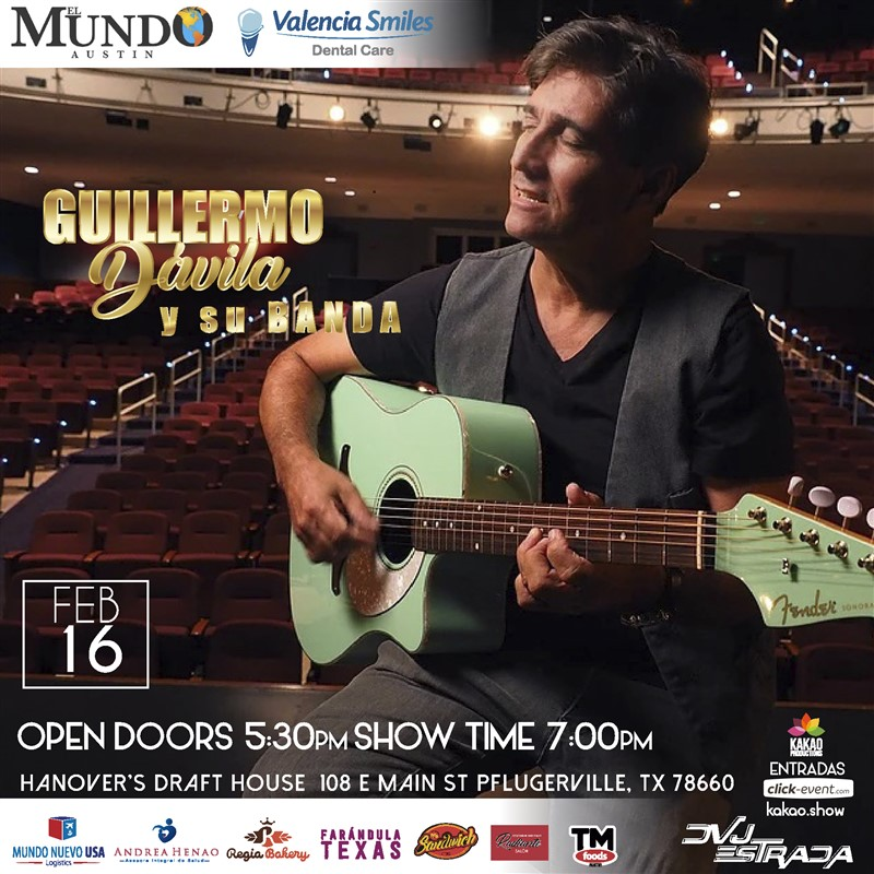 Get Information and buy tickets to Guillermo Davila y su banda - Cerca de Ti - Austin TX General $50 - Vip $70 on www.click-event.com