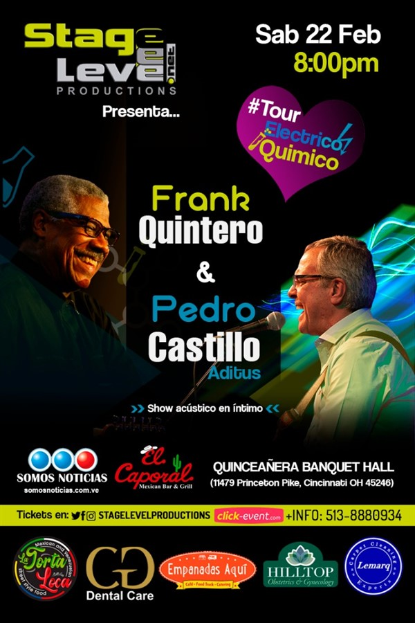 Get Information and buy tickets to Frank Quintero y Pedro Castillo - Tour Electrico Quimico Reg $40 - Vip $50 on www.click-event.com