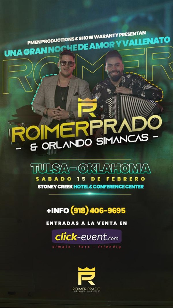 Get Information and buy tickets to Roimer Prado y Orlando Simancas - Noche de amor y Vallenato Platinun $25, Diamond $35, Gold $55 on www.click-event.com