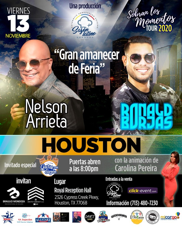 Get Information and buy tickets to Sobran los Momentos - Nelson Arrieta & Ronald Borjas Reg 2nd floor $55 - Reg $65 - Vip $70 on www.click-event.com