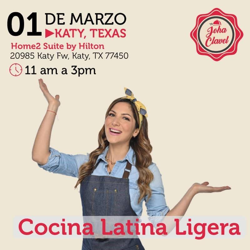 Get Information and buy tickets to Cocina Latina Ligera - Johana Clavel - Houston Preventa Reg $60 - Vip $80 on www.click-event.com