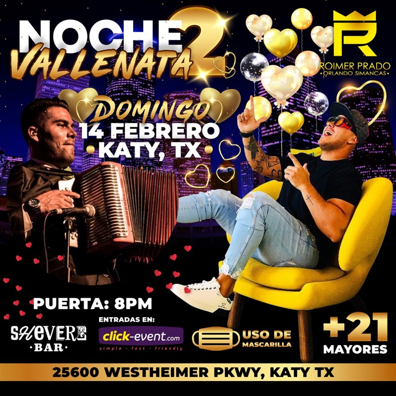 Get Information and buy tickets to Noche Vallenata 2 - Roimer Prado, Orlando Simancas - Katy TX Preventa $30 on www.click-event.com