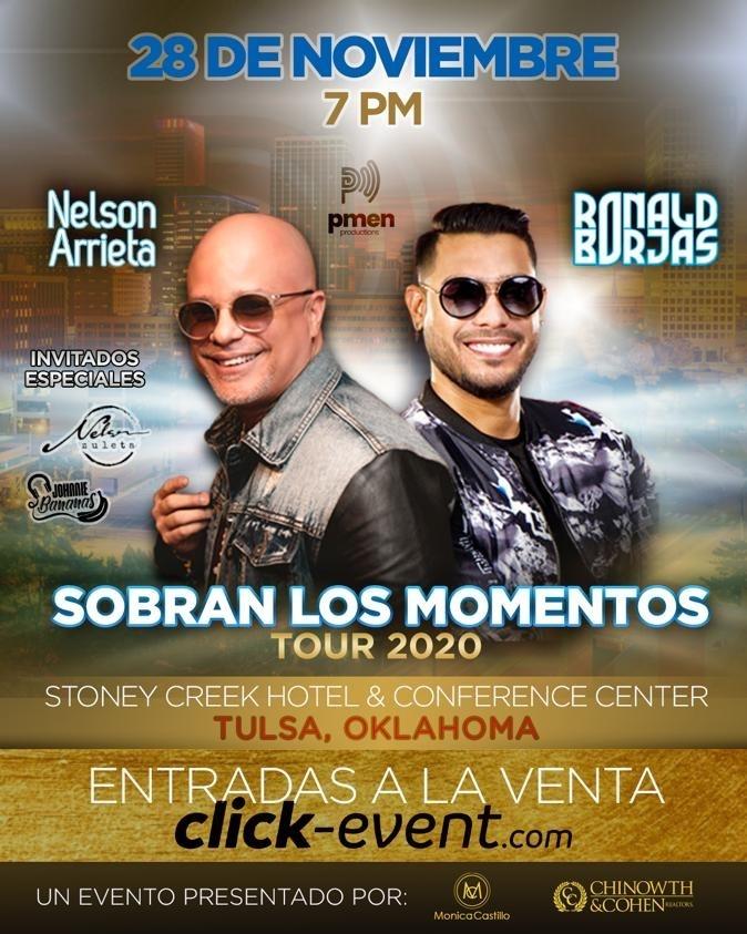 Obtener información y comprar entradas para Sobran los Momentos - Nelson Arrieta & Ronald Borjas - Tulsa $35 - $75 en www.click-event.com.