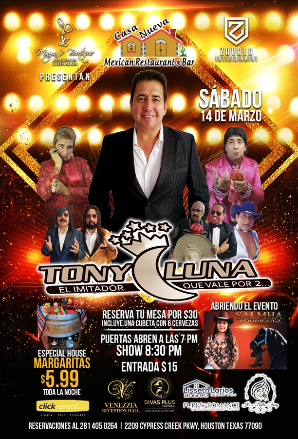 Get Information and buy tickets to El Show de Tony Luna - Houston TX Reg $15 on www.click-event.com