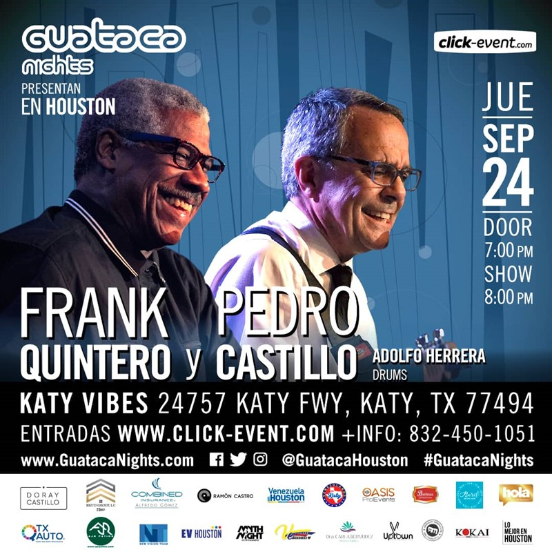 Get Information and buy tickets to Frank Quintero & Pedro Castillo, inv. Adolfo Herrera bateria Reg $35 - Vip $55 on www.click-event.com