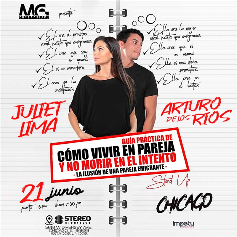 Get Information and buy tickets to Como vivir en Pareja y no morir en el intento - Chicago IL Juliet Lima - Arturo de los Rios - Reg $30 -Vip $40 on www.click-event.com