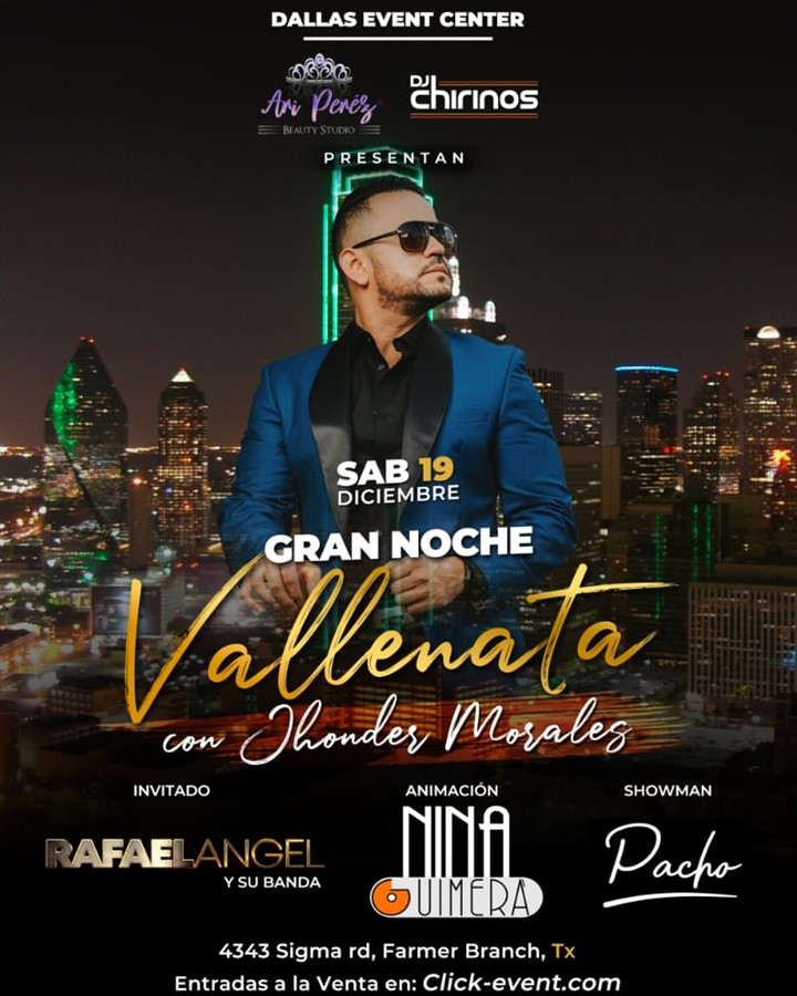 Get Information and buy tickets to Gran Noche Vallenata con Jhonder Morales Reg $50 - Vip $75 Preventa Limitada on www.click-event.com