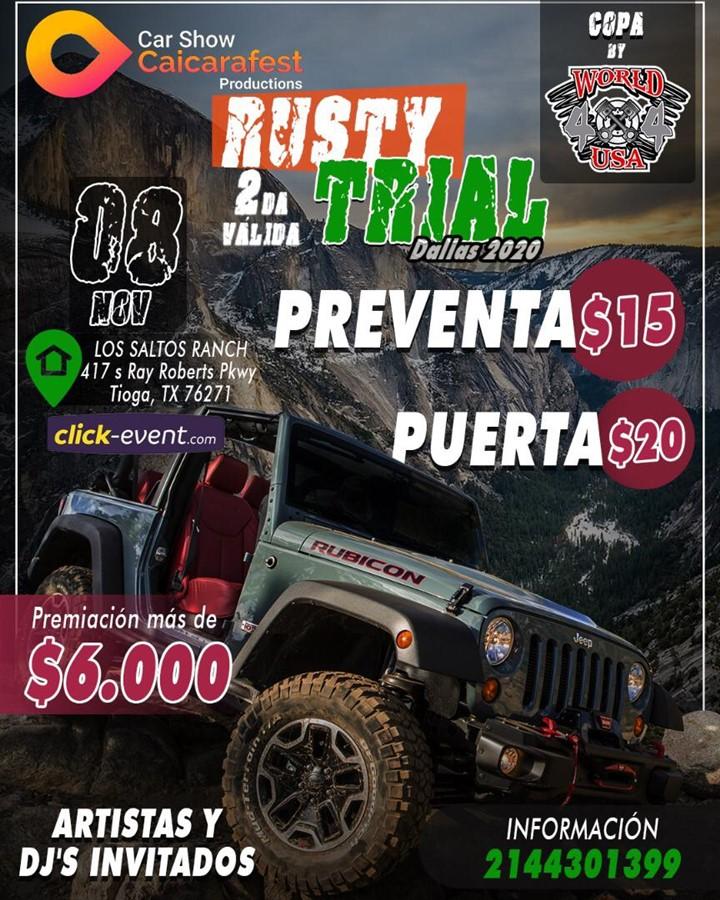 Get Information and buy tickets to 2da Valida Rusty Trial Dallas 2020 Reg $15 - En puerta $20 on www.click-event.com
