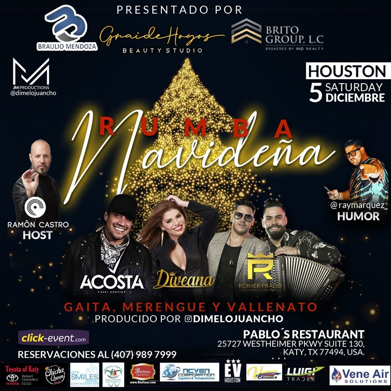 Get Information and buy tickets to Rumba Navideña - Beet Acosta , Diveana y Roimer Prado Reg $50 - Vip $80 on www.click-event.com