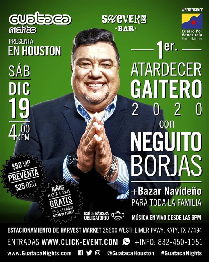 Get Information and buy tickets to 1re Atardecer Gaitero 2020 con Neguito Borjas Reg $30, Vip $60 on www.click-event.com