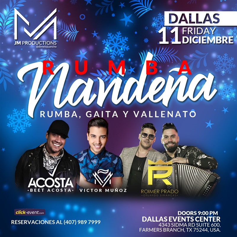 Get Information and buy tickets to Rumba Navideña - Beet Acosta, Victor Muñoz y Roimer Prado Reg $35 - Vip $50 on www.click-event.com