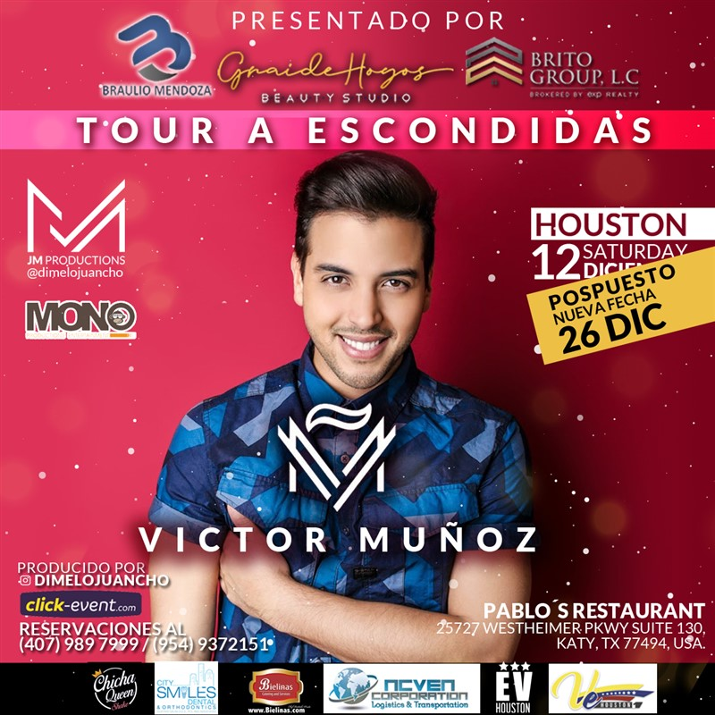 Get Information and buy tickets to Tour a Escondidas - Victor Muñoz Reg $25 - Vip $35 on www.click-event.com