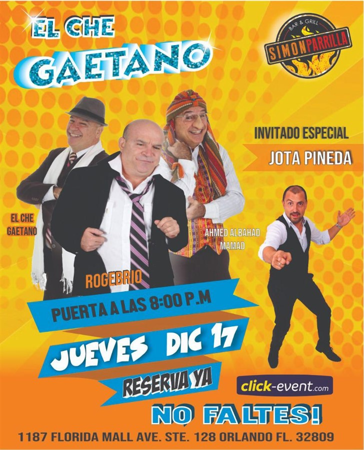 Get Information and buy tickets to Che Gaetano - Orlando FL Reg $20 - Vip $25 on www.click-event.com