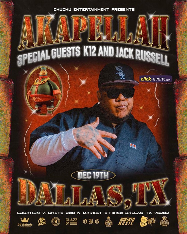 Get Information and buy tickets to Akapella with K12 & Jack Russell - Dallas TX General $20 - Vip $50 Preventa Limitada on www.click-event.com