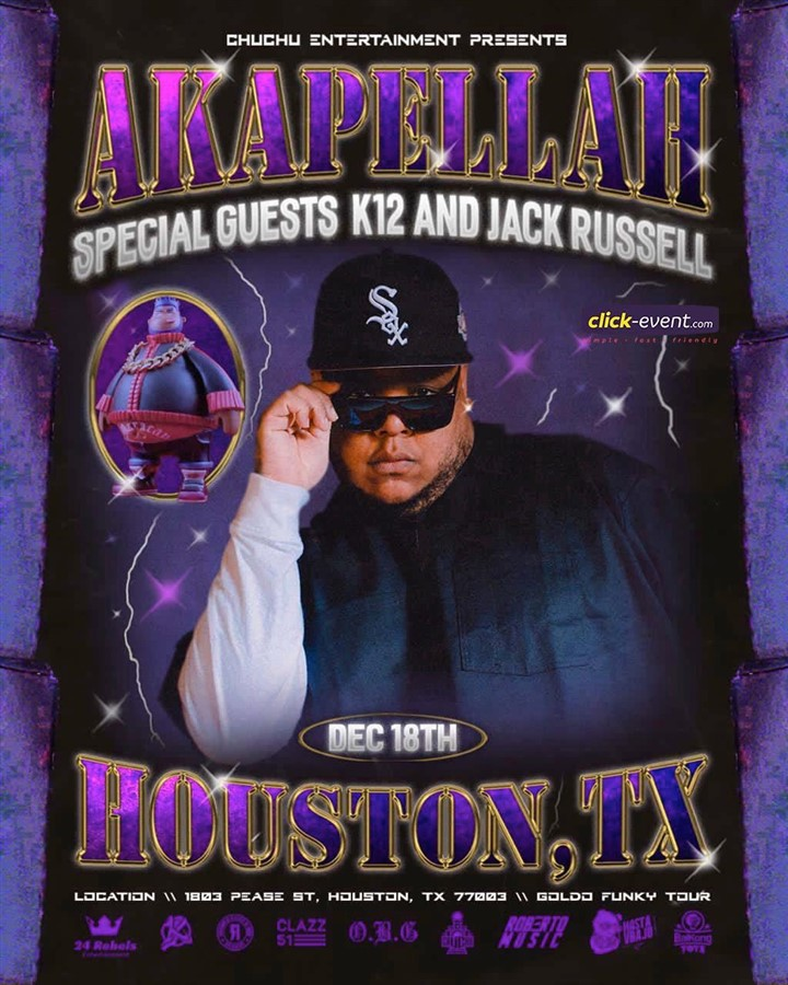 Get Information and buy tickets to Akapella with K12 & Jack Russell - Houston TX General $20 - Vip $50 Preventa Limitada on www.click-event.com