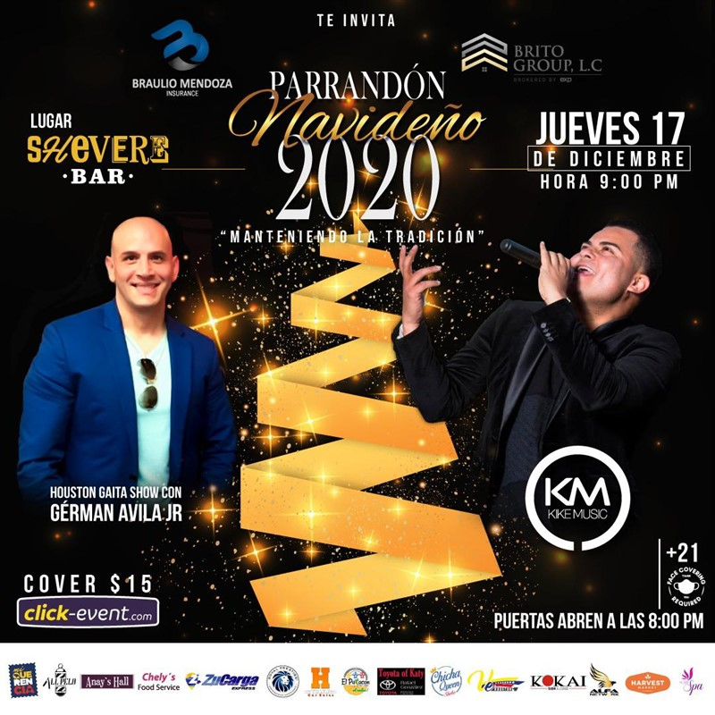 Get Information and buy tickets to Parrandon Navideño Gérman Avila Jr, Kike Music Reg $15 on www.click-event.com