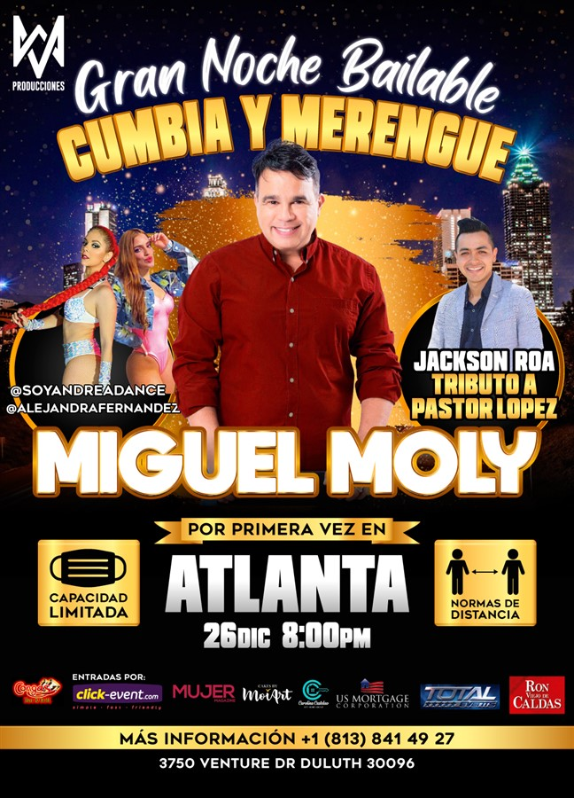 Get Information and buy tickets to Gran Noche de Cumbia y Merenge - Miguel Moly, Jackson Roa Reg $30 - Vip $45 on www.click-event.com
