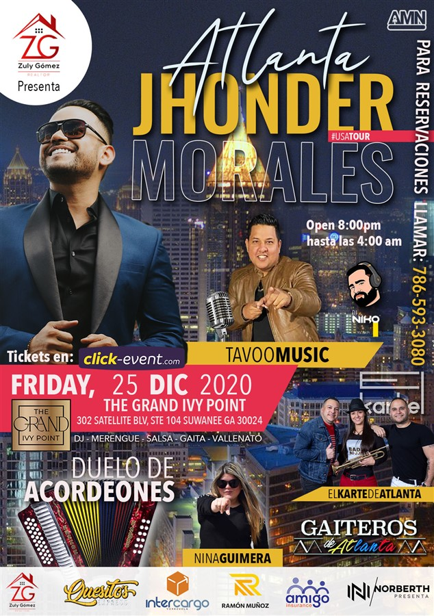 Get Information and buy tickets to Jhonder Morales, TavooMusic, Gaiteros de Atlanta, El Kartel de Atlanta, Dj Niko General $30 - Vip $45 on www.click-event.com
