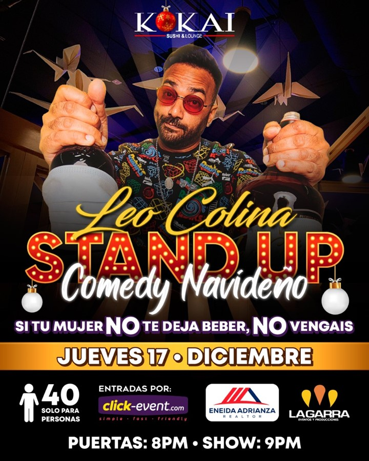 Get Information and buy tickets to Stand Up Comedy Navideño - Leo Colina Reg $30 on www.click-event.com