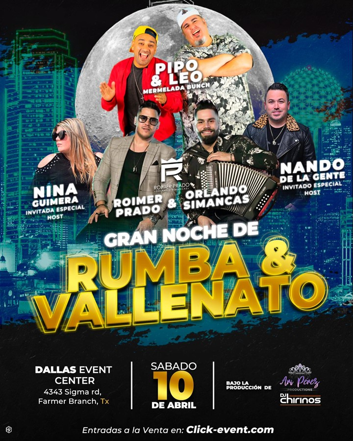 Get Information and buy tickets to Gran Noche de Rumba y Vallenato General $45 - Gold $55 - Platinum $65 on www.click-event.com