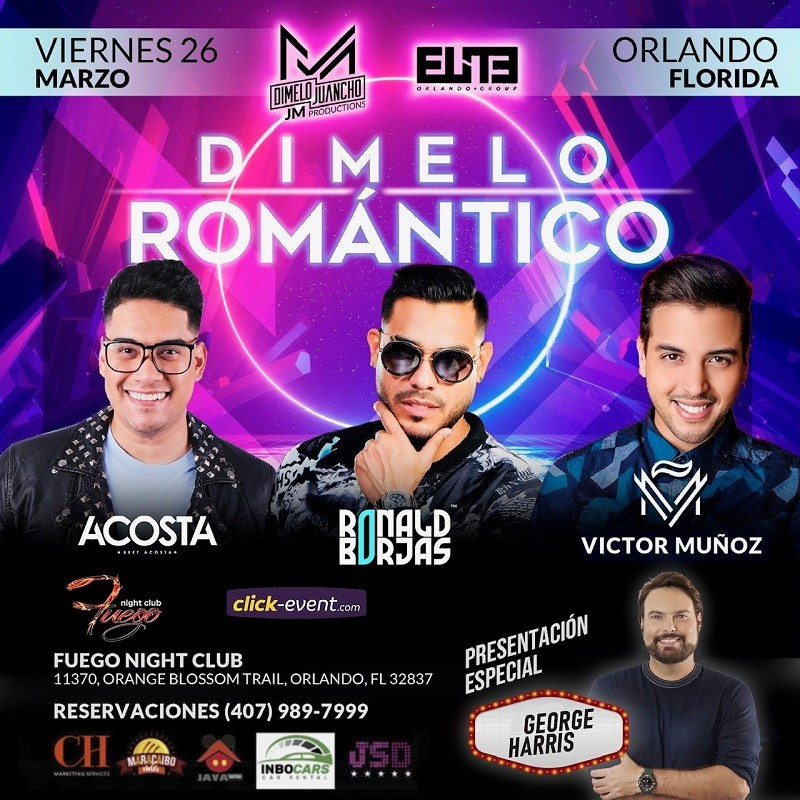 Get Information and buy tickets to Dimelo Romantico - Orlando FL - Beet Acosta, Ronald Borjas, Victor Muñoz General $40 - Silver $60 - Gold $80 - VIP $150 on www.click-event.com