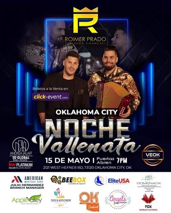 Obtener información y comprar entradas para Noche Vallenata - Oklahoma General $35 - Vip $45 - Platinum $55 en www.click-event.com.
