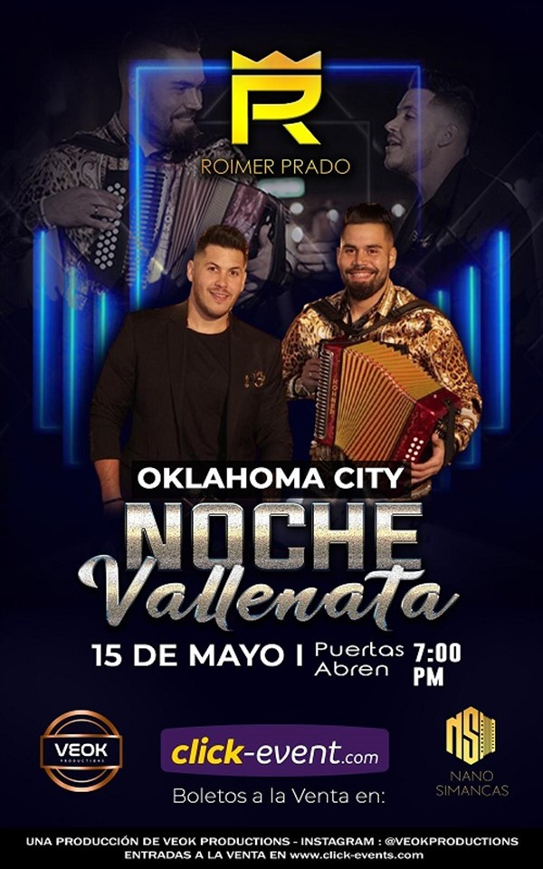 Get Information and buy tickets to Noche Vallenata - Oklahoma General $35 - Vip $45 - Platinum $55 on www.click-event.com