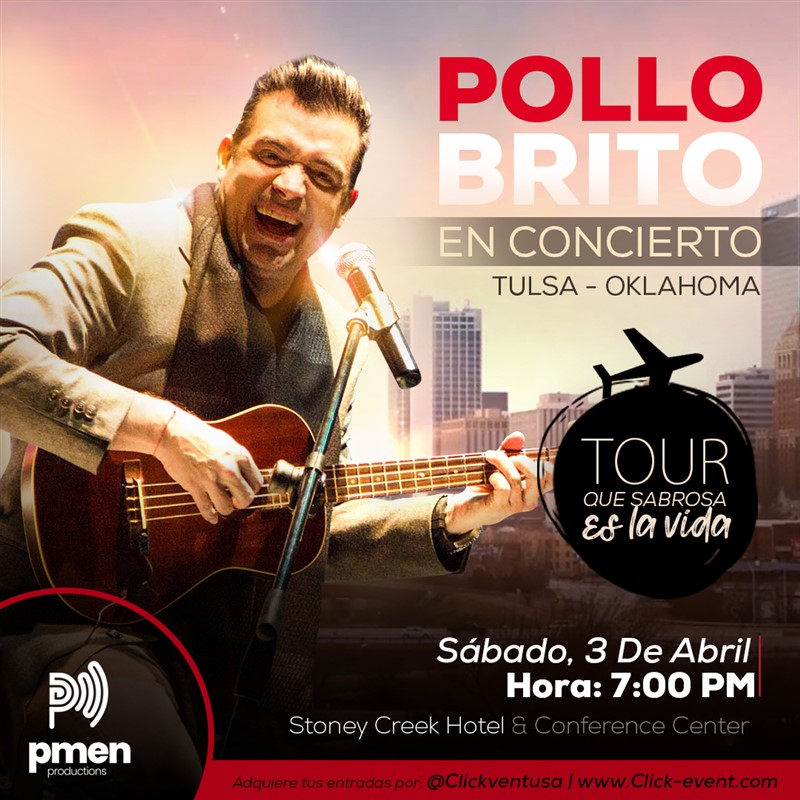 "Get Information and buy tickets to Rafael ""Pollo"" Brito en concierto- Tulsa - Oklahoma Vip $45 - Gold $55 - Primera Fila $65 - Diamond  $70 on www.click-event.com"