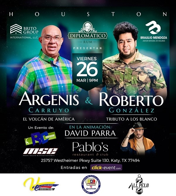 Get Information and buy tickets to Argenis Carruyo Standing $40 - Barra $50 - Preferencial $80 - Gold 90 - Platinum $100 on www.click-event.com