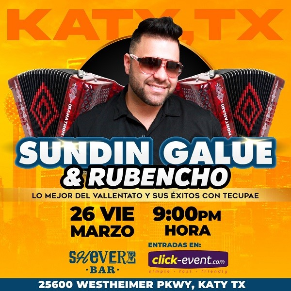 Get Information and buy tickets to Sundin Galue & Rubencho Reg $25 on www.click-event.com