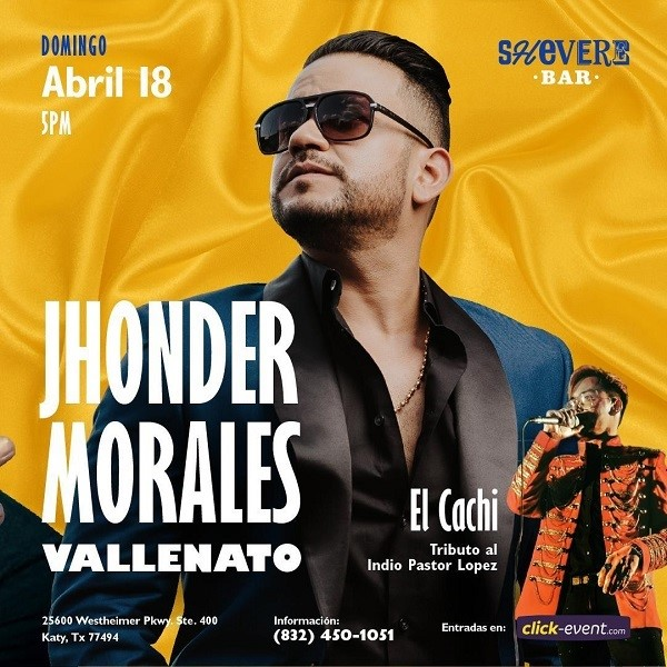 Get Information and buy tickets to Jhonder Morales - Vallenato Reg $35 - Vip $50 on www.click-event.com