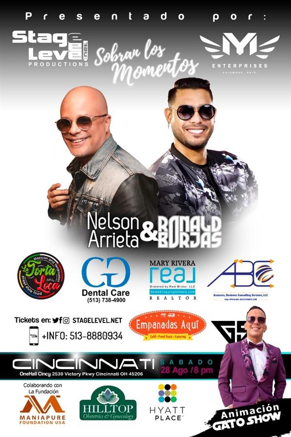 """Obtener información y comprar entradas para Nelson Arrieta y Ronald Borjas - Tour """"Sobran Los Momentos"""" 2021 Cincinnati 28 de Agosto $55 en www.click-event.com."""