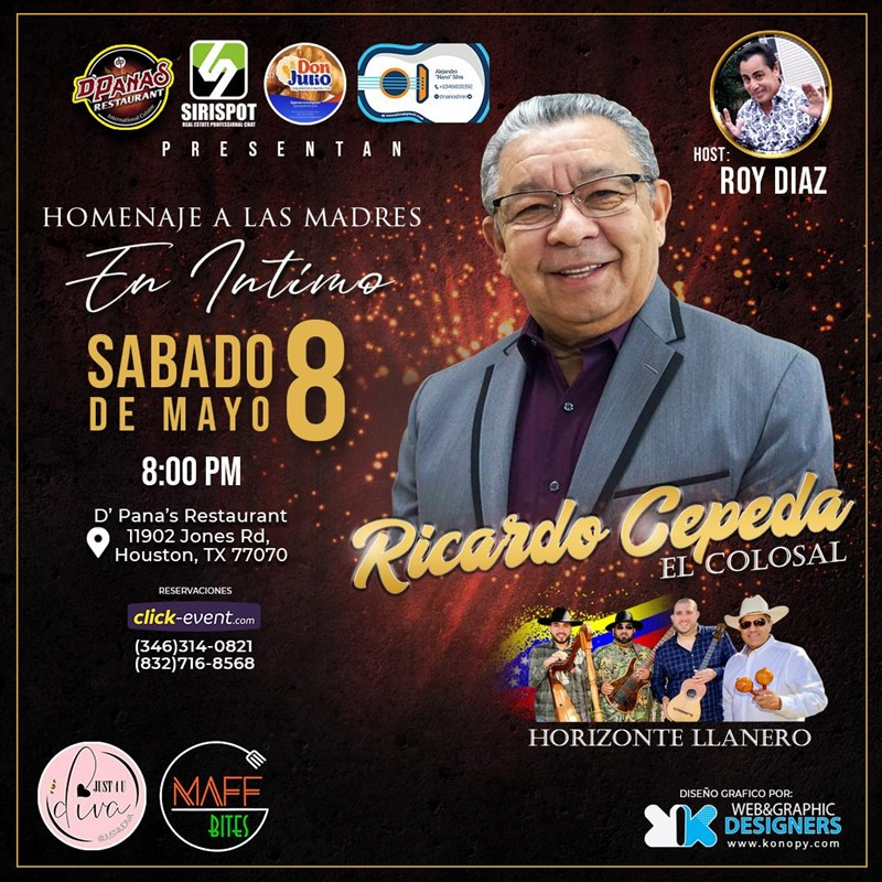 Get Information and buy tickets to Ricardo Cepeda - El Colosal - Houston Reg $50 - Reg Plus $70 - Vip $90 on www.click-event.com