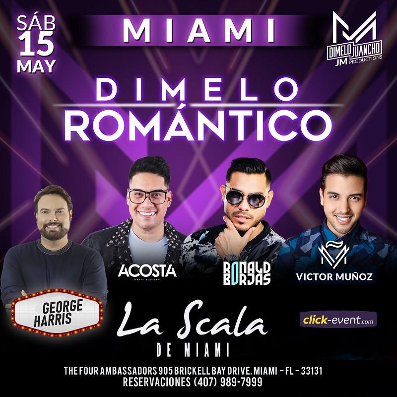 Obtener información y comprar entradas para Dimelo Romantico - Miami FL - Beet Acosta, Ronald Borjas, Victor Muñoz Preventa en www.click-event.com.