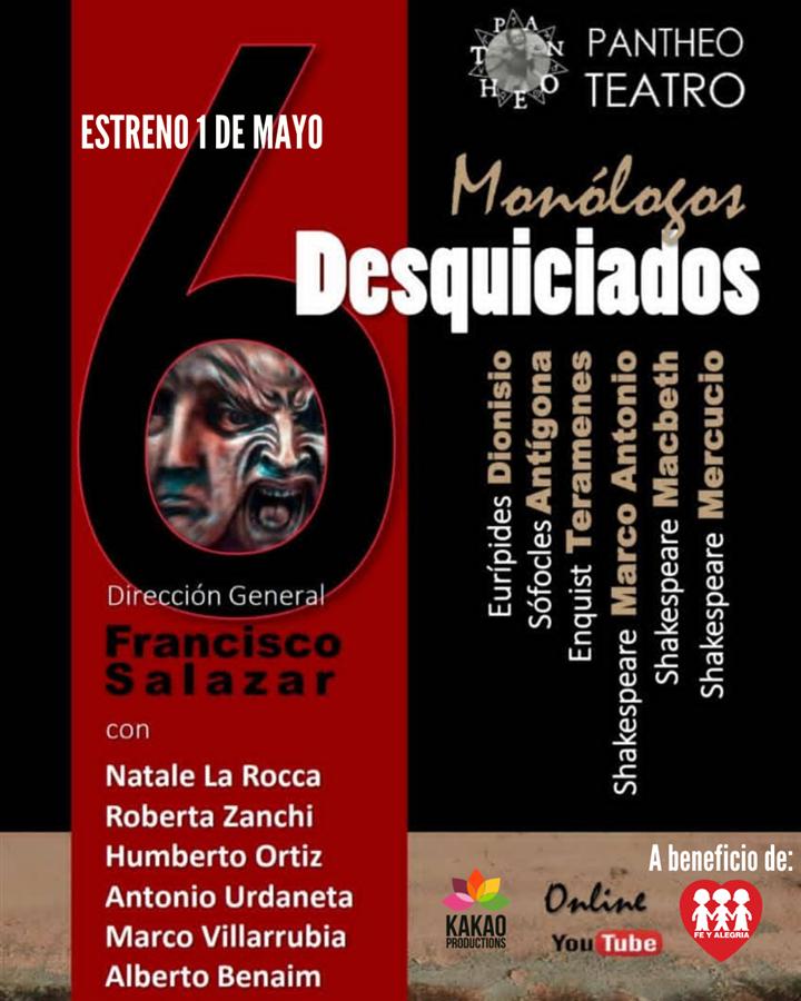 Obtener información y comprar entradas para MONÓLOGOS DESQUICIADOS MICRO TEATRO ONLINE (6 MONÓLOGOS) en www.click-event.com.