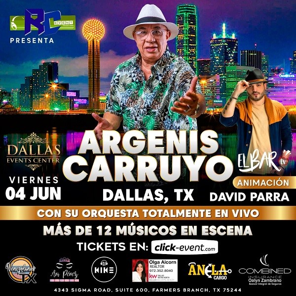 Obtener información y comprar entradas para Argenis Carruyo - Dallas TX Preventa - Reg $30 - Platinum $70 en www.click-event.com.