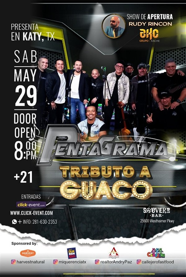Get Information and buy tickets to Tributo a Guaco  con Pentagrama - Katy TX Reg $ 20 (Preventa) - Vip Plus $80 on www.click-event.com