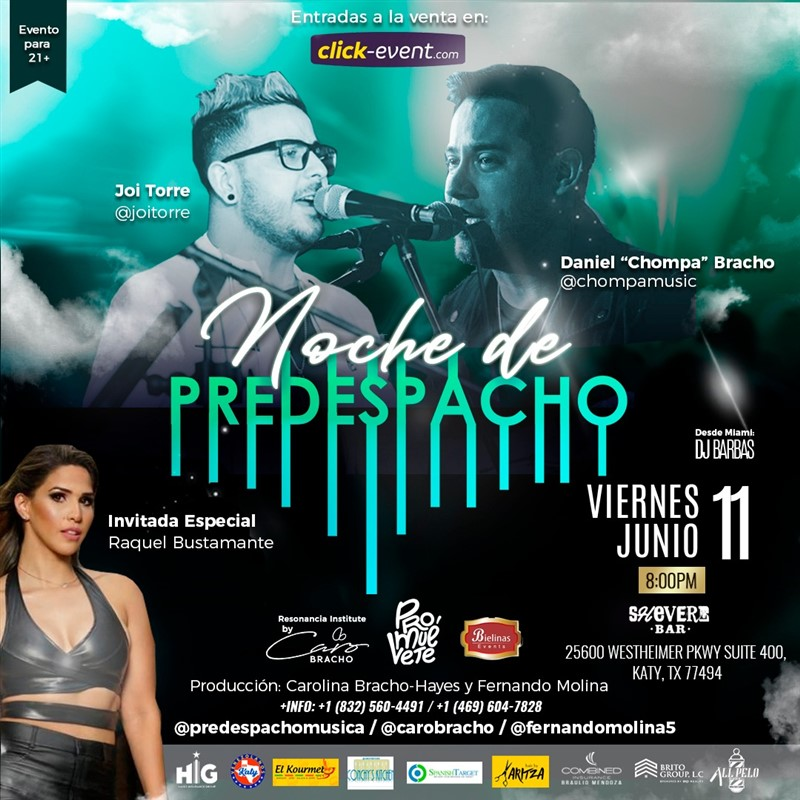 "Get Information and buy tickets to Noche de Predespacho - Joi Torre - Daniel ""Chompa"" Bracho Inv Raquel Bustamante on www.click-event.com"