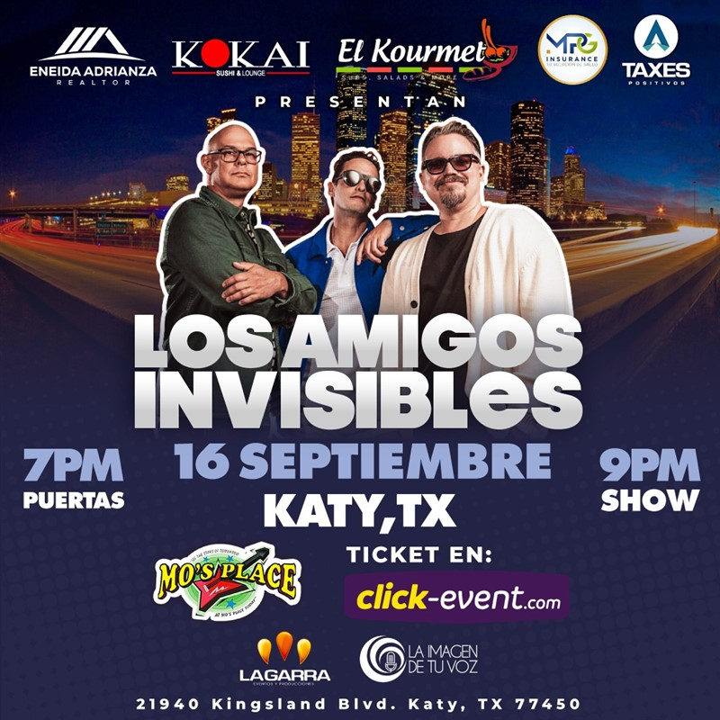 Get Information and buy tickets to Amigos Invisibles - Houston TX  on www.click-event.com