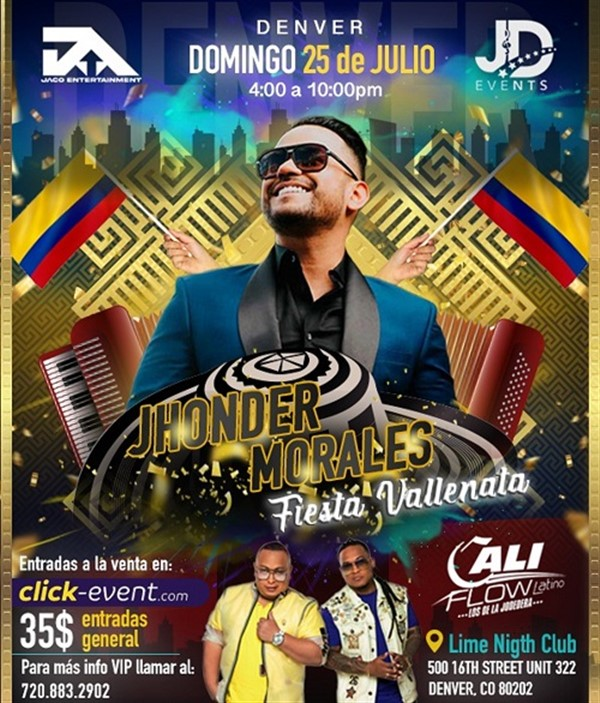 Get Information and buy tickets to Jhonder Morales Fiesta Vallenata - Denver CO  on www.click-event.com