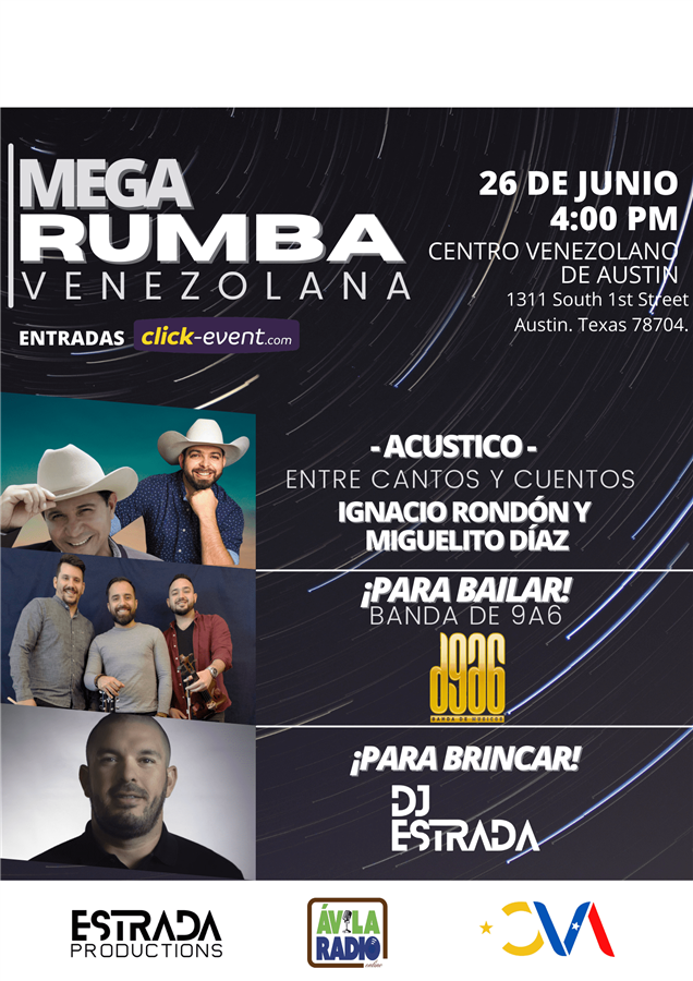 Get Information and buy tickets to Mega Rumba Venezolana - Austin TX  on www.click-event.com