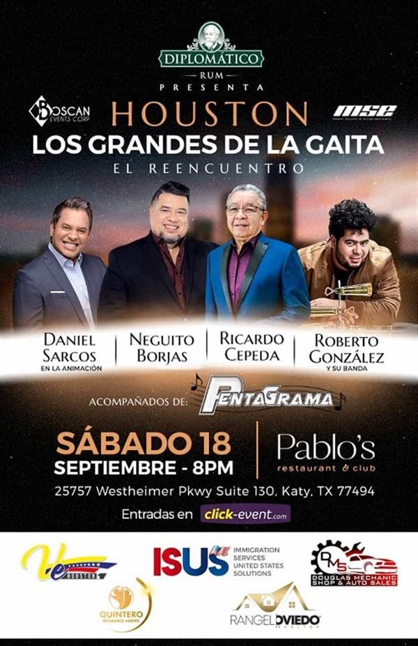 Get Information and buy tickets to Los Grandes de la Gaita - Neguito Borjas, Ricardo Cepeda, Roberto González - Houston TX Animacion Daniel Sarcos on www.click-event.com