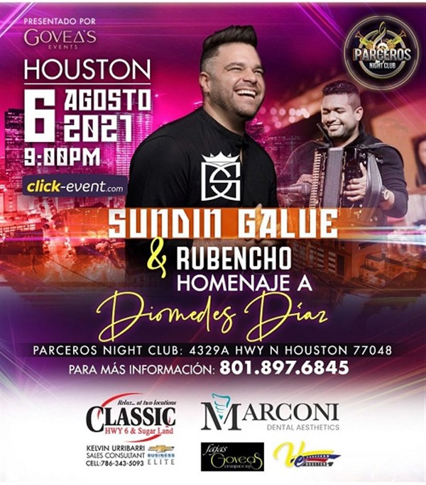 Get Information and buy tickets to SUNDIN GALUE & Rubencho - Homenaje a Diomedes Días - Houston TX  on www.click-event.com
